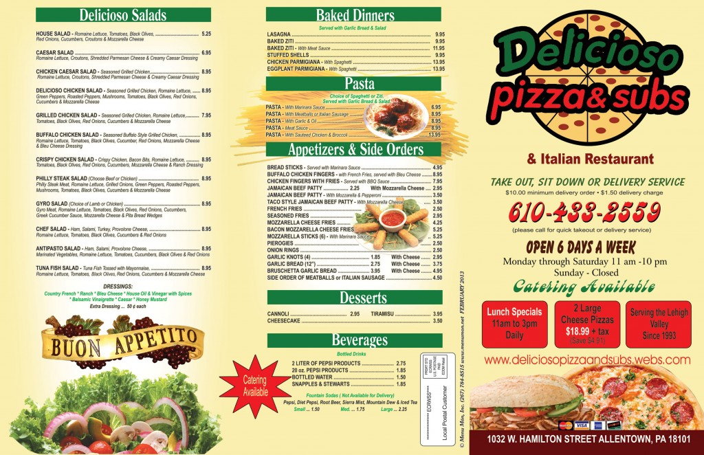 Allentown Delicioso Menu 1