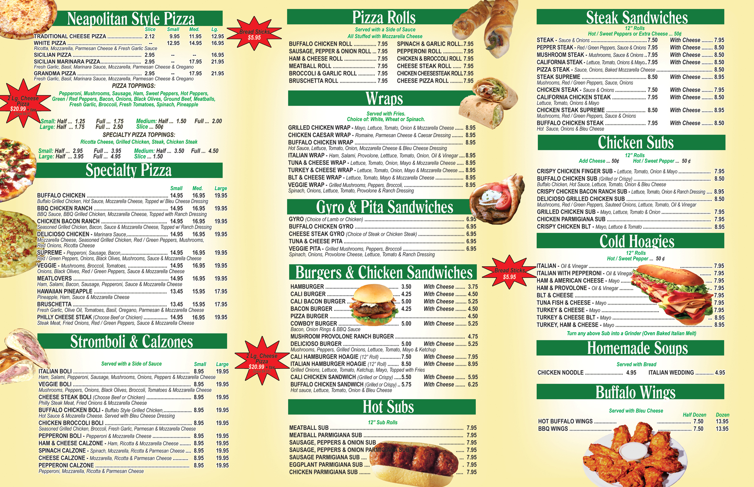 Delicioso Pizza & Subs Menu