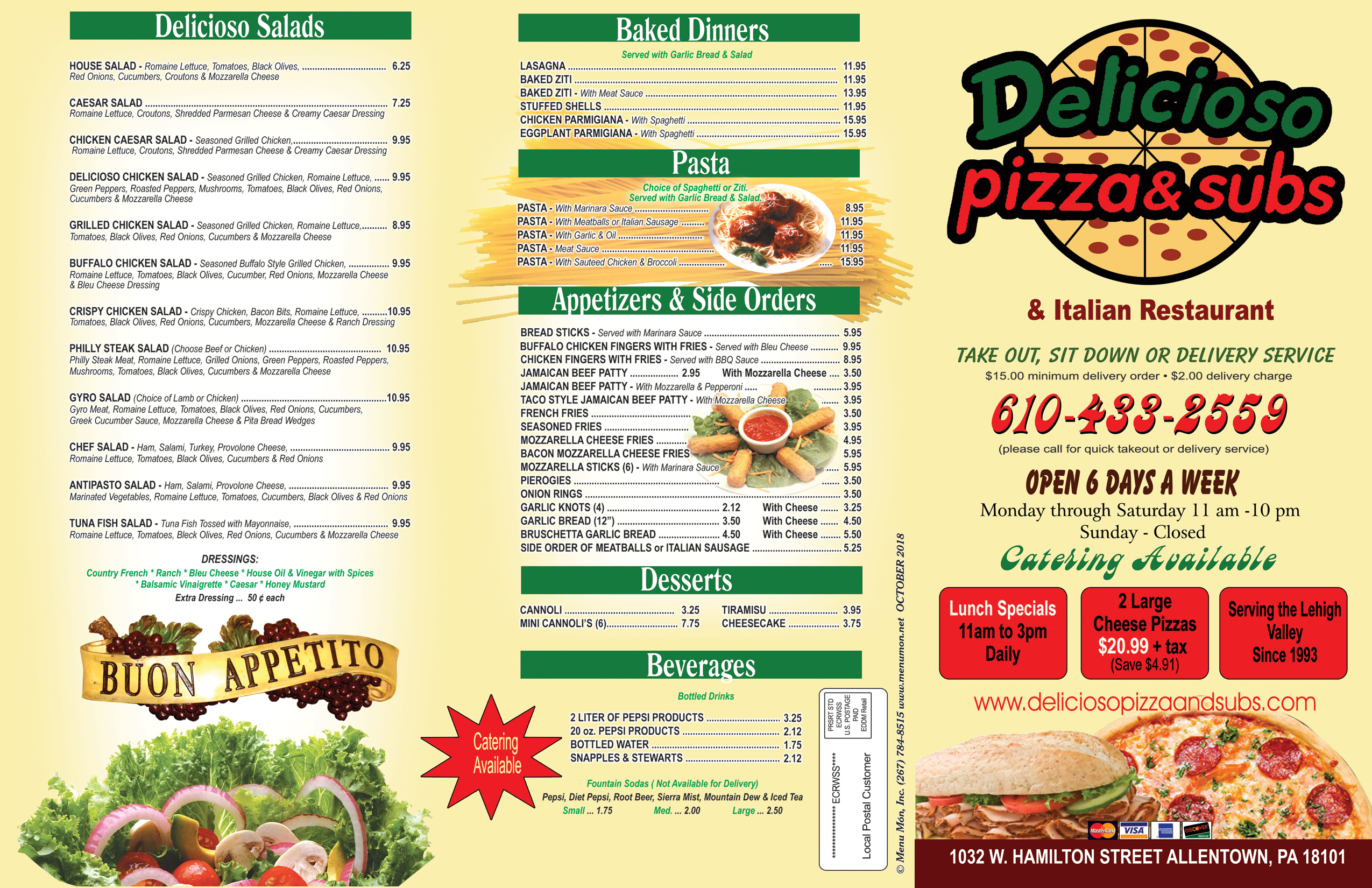 delicioso menu italian pizza and subs allentown padelicioso